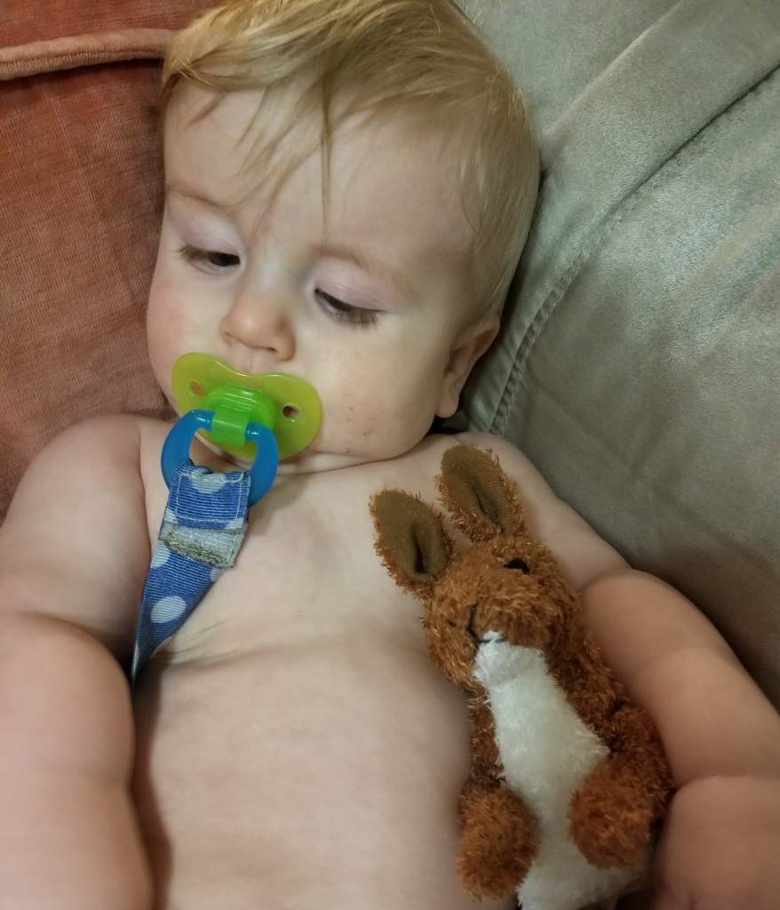 Timothy laying on the couch with his soother holding a stuffed kangaroo